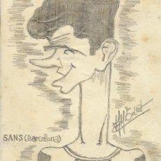 Arte: ALFONSO TUBERT. DIBUJO CARICATURA FIRMADO F. C.BARCELONA. JOAN SANS ALSINA. AÑOS 40. 9,5X8,5 CM. . Lote 167463652