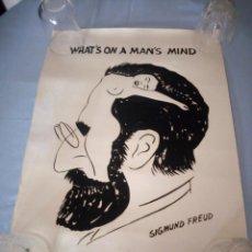 Arte: DIBUJO SIGMUND FREUD WHAT'S ON A MAN'S MIND.DIBUJO ORIGINAL EN PAPEL RECIO. Lote 167552468