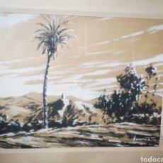 Arte: TECNICA MIXTA, PAISAJE CON PALMERAS, MEDIDAS TOTALES 60X50CM FIRMADO NAVARRETE. Lote 167643786