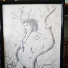 Arte: DIBUJO A LAPIZ, ILUSTRACIÓN FANTÁSTICA, FIRMA ILEGIBLE. MEDIDAS CON MARCO 34X47CM. Lote 167659409