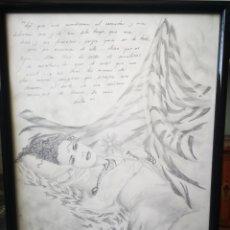 Arte: DIBUJO A LAPIZ, ILUSTRACIÓN FANTÁSTICA, FIRMA ILEGIBLE. MEDIDAS CON MARCO 34X47CM. Lote 167675974