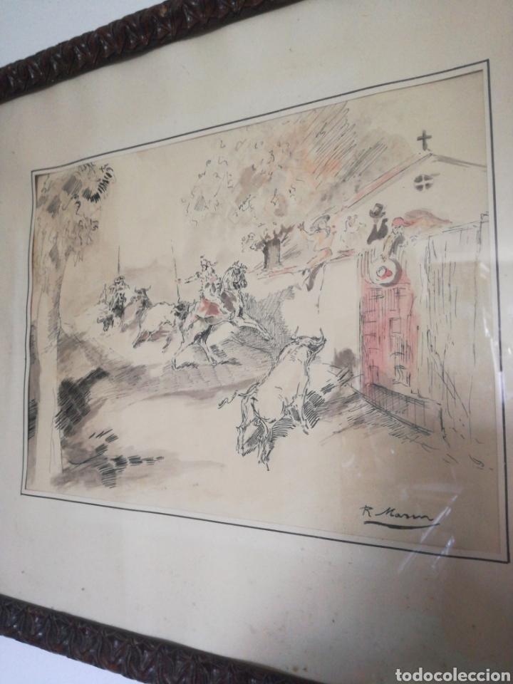 DIBUJO ENMARCADO DE R. MARIN (Arte - Dibujos - Contemporáneos siglo XX)