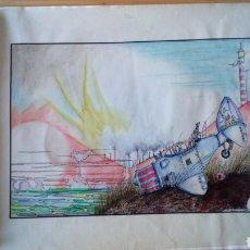 Arte: PINTURA DIBUJO CÓMIC PINTADO A MANO PLASTIFICADO Y FIRMADO. Lote 167737020