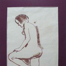 Arte: CELSO LAGAR, DESNUDO DIBUJO ORIGINAL A LAPICERO, CON SELLO . Lote 167946768