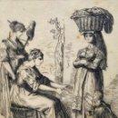 Arte: EXCELENTE DIBUJO ORIGINAL A TINTA, FINALES DEL SIGLO XVIII, ESCUELA ITALIANA, COSTUMI DI ROMA.. Lote 168076556