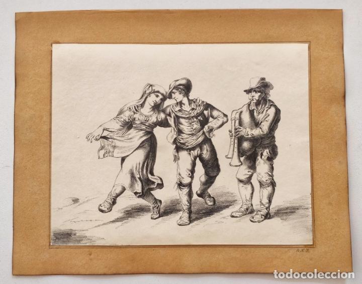 Arte: Excelente dibujo original de finales del siglo XVIII, gran detalle y calidad, firmado NRJ - Foto 2 - 168077072