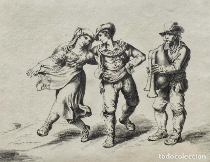 EXCELENTE DIBUJO ORIGINAL DE FINALES DEL SIGLO XVIII, GRAN DETALLE Y CALIDAD, FIRMADO NRJ (Arte - Dibujos - Antiguos hasta el siglo XVIII)