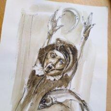 Arte: DIBUJO A PLUMILLA FIRMADO SANTOS. Lote 168561726