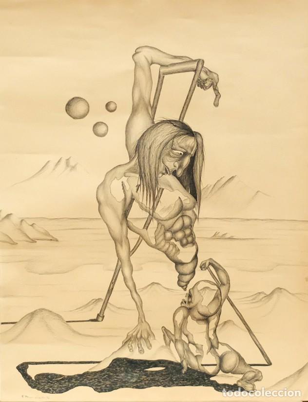 FIRMADO F. MORALES. DIBUJO A TINTE DE TEMA SURREALISTA. FECHADO DEL AÑO 1972 (Arte - Dibujos - Contemporáneos siglo XX)