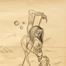 Arte: FIRMADO F. MORALES. DIBUJO A TINTE DE TEMA SURREALISTA. FECHADO DEL AÑO 1972. Lote 168598444