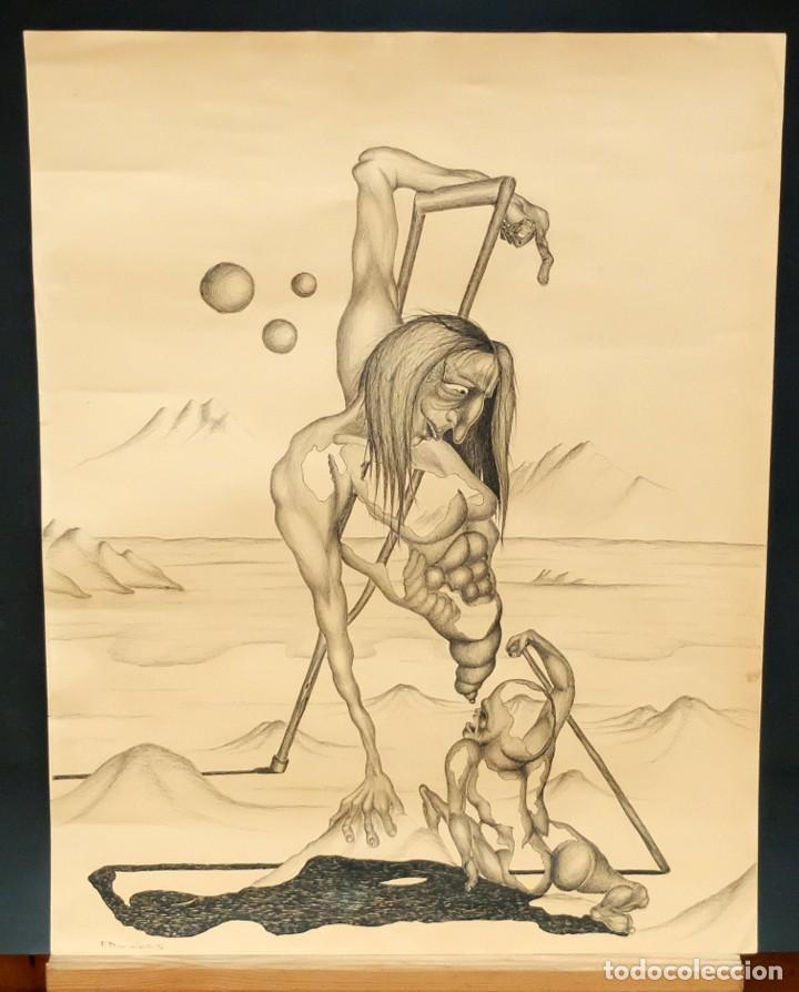 Arte: FIRMADO F. MORALES. DIBUJO A TINTE DE TEMA SURREALISTA. FECHADO DEL AÑO 1972 - Foto 2 - 168598444