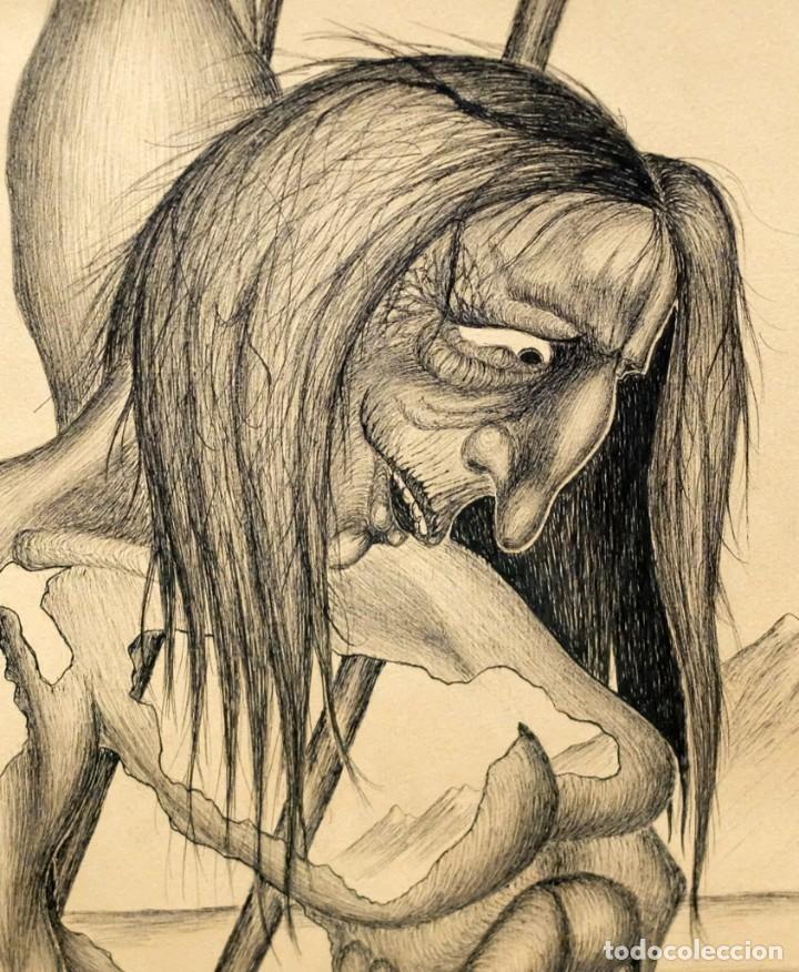 Arte: FIRMADO F. MORALES. DIBUJO A TINTE DE TEMA SURREALISTA. FECHADO DEL AÑO 1972 - Foto 3 - 168598444
