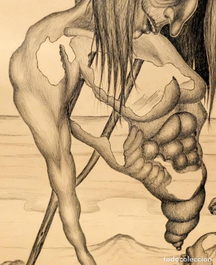 Arte: FIRMADO F. MORALES. DIBUJO A TINTE DE TEMA SURREALISTA. FECHADO DEL AÑO 1972 - Foto 4 - 168598444