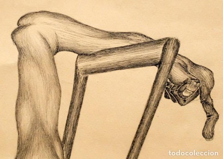 Arte: FIRMADO F. MORALES. DIBUJO A TINTE DE TEMA SURREALISTA. FECHADO DEL AÑO 1972 - Foto 6 - 168598444