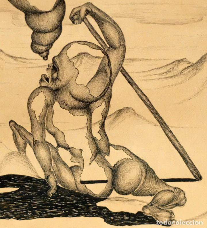 Arte: FIRMADO F. MORALES. DIBUJO A TINTE DE TEMA SURREALISTA. FECHADO DEL AÑO 1972 - Foto 7 - 168598444