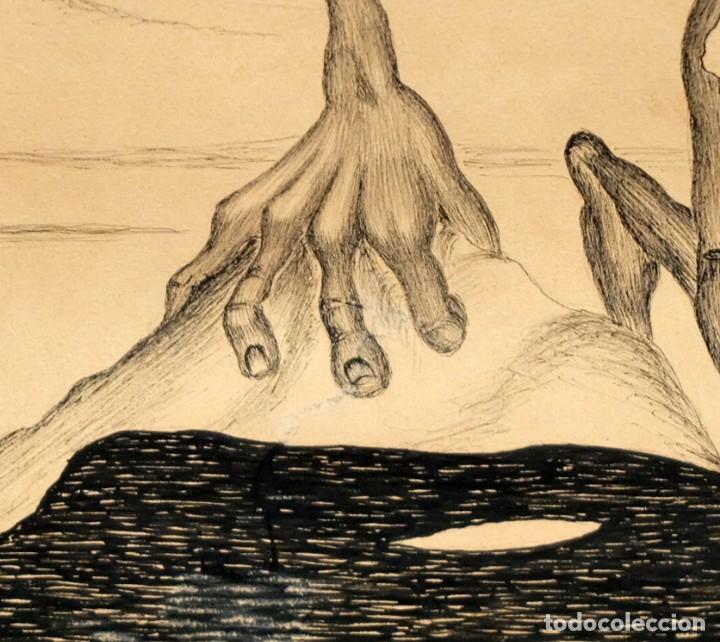 Arte: FIRMADO F. MORALES. DIBUJO A TINTE DE TEMA SURREALISTA. FECHADO DEL AÑO 1972 - Foto 8 - 168598444