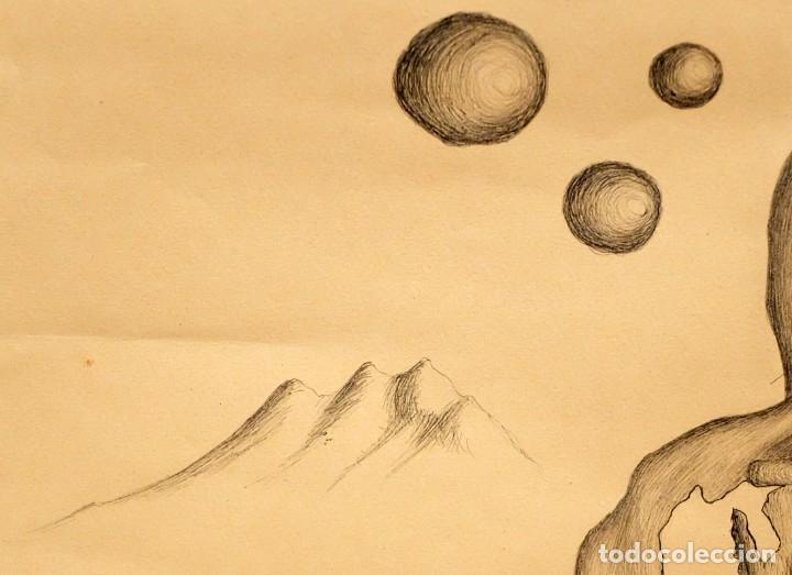 Arte: FIRMADO F. MORALES. DIBUJO A TINTE DE TEMA SURREALISTA. FECHADO DEL AÑO 1972 - Foto 9 - 168598444