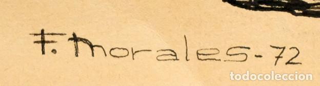 Arte: FIRMADO F. MORALES. DIBUJO A TINTE DE TEMA SURREALISTA. FECHADO DEL AÑO 1972 - Foto 10 - 168598444