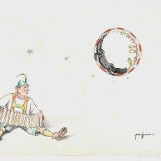 Arte: PEREJAUME, DIBUJO, MÚSICO CON ACORDEÓN, COCODRILO Y LUNA, 1977, CON INSCRIPCIÓN TRASERA, FIRMADO.. Lote 168901156