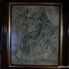 Arte: PRECIOSO CUADRO DE JESUCRISTO EN CARBONCILLO. Lote 169178872