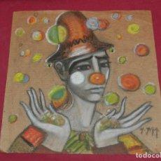 Arte: (M) DIBUJO ORIGINAL DE UN PAYASO FIRMADO MARA 1960 - 30X30 CM, SEÑALES DE USO. Lote 169278104