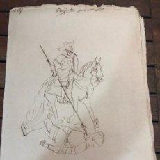 Arte: HISTORIA DE DON QUIJOTE Y SANCHO PANZA DIBUJADO POR EL PINTOR GADITANO RAFAEL DEL AGUILA - CADIZ. Lote 169337144