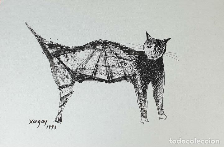 GATO. DIBUJO A TINTA CHINA SOBRE PAPEL. FIRMADO EMILIA XARGAY. 1993. (Arte - Dibujos - Contemporáneos siglo XX)