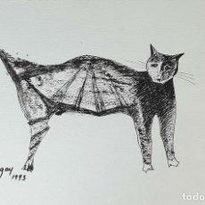 Arte: GATO. DIBUJO A TINTA CHINA SOBRE PAPEL. FIRMADO EMILIA XARGAY. 1993.. Lote 169373896
