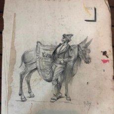 Arte: ANTIGUO DIBUJO REALIZADO POR EL PINTOR GADITANO RAFAEL AGUILAR - MEDIDA 34X24 CM - CADIZ. Lote 169432612