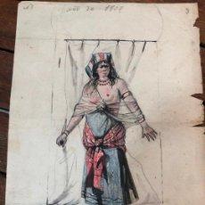 Arte: DIBUJO DEL PINTOR GADITANO RAFAEL DEL AGUILA MARTINEZ AÑO 1905 - MEDIDA 21X16 CM - CADIZ. Lote 169450712
