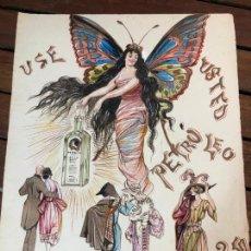 Arte: PUBLICIDAD PINTADA POR EL PINTOR GADITANO RAFAEL AGUILA PRINCIPIO SIGLO XX - MEDIDA 32X24 CM CADIZ. Lote 169454496