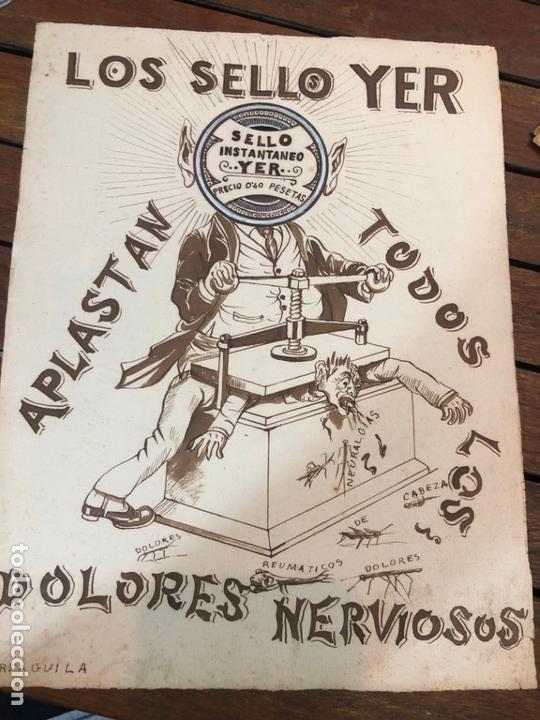PUBLICIDAD PINTADA POR EL PINTOR GADITANO RAFAEL AGUILA PRINCIPIO SIGLO XX - MEDIDA 32X24 CM CADIZ (Arte - Dibujos - Contemporáneos siglo XX)