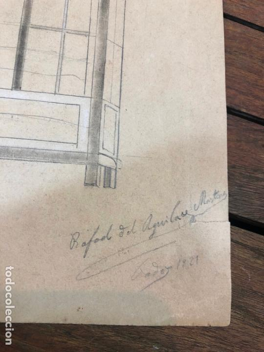 Arte: DIBUJO BOCETO DE CASA RAFAEL DEL AGUILA AÑO 1921 - PINTOR GADITANO CADIZ - MEDIDA 35X24 CM - Foto 2 - 169455604