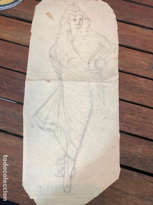 ANTIGUO BOCETO DIBUJO MUJER DE POCA PRINCIPIO SIGLO XX - MEDIDA 36X15 CM (Arte - Dibujos - Contemporáneos siglo XX)