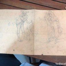 Arte: DIBUJO BOCETO PRINCIPIO SIGLO XX PERSONAJES DE EPOCA - MEDIDA 44X25 CM. Lote 169457788