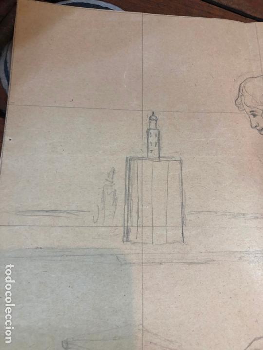 Arte: DIBUJO BOCETO PRINCIPIO SIGLO XX MUJER DE EPOCA - MEDIDA 48X37 CM - SEVILLA - Foto 2 - 169457932