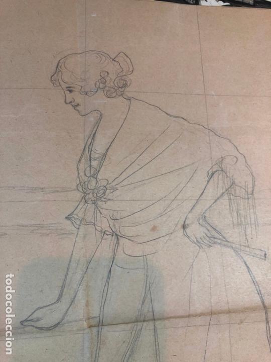 Arte: DIBUJO BOCETO PRINCIPIO SIGLO XX MUJER DE EPOCA - MEDIDA 48X37 CM - SEVILLA - Foto 3 - 169457932