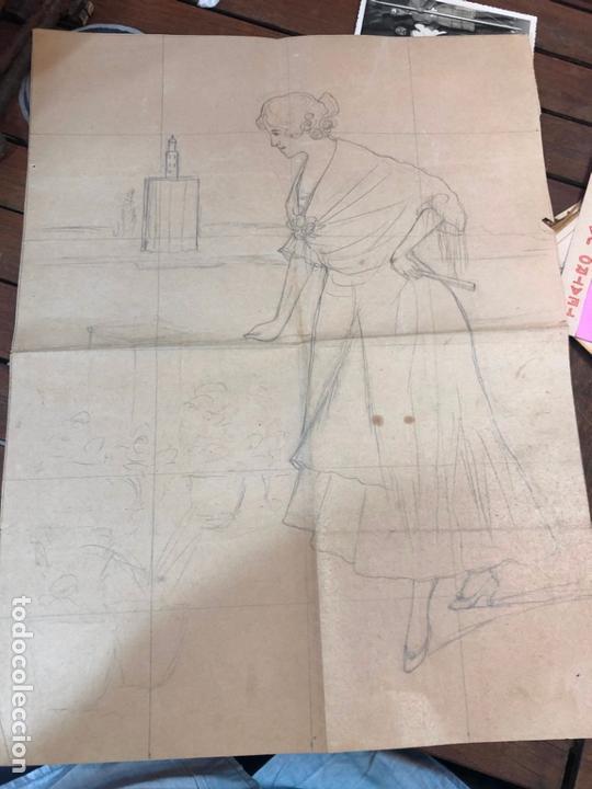 DIBUJO BOCETO PRINCIPIO SIGLO XX MUJER DE EPOCA - MEDIDA 48X37 CM - SEVILLA (Arte - Dibujos - Contemporáneos siglo XX)
