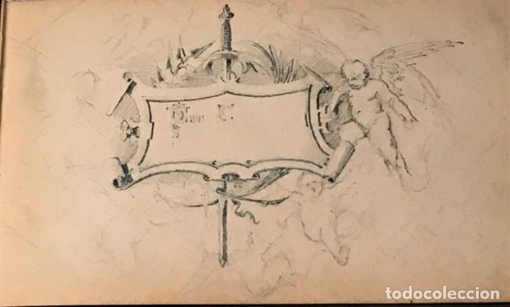Arte: Autorretrato y cuadernillo de dibujos de José Arija Saiz (Burgos S XIX-Madrid 1920) - Foto 18 - 169460820