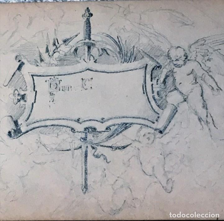 Arte: Autorretrato y cuadernillo de dibujos de José Arija Saiz (Burgos S XIX-Madrid 1920) - Foto 19 - 169460820