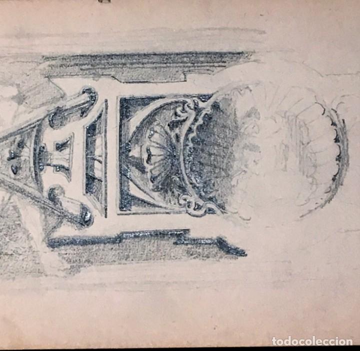 Arte: Autorretrato y cuadernillo de dibujos de José Arija Saiz (Burgos S XIX-Madrid 1920) - Foto 30 - 169460820