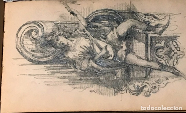 Arte: Autorretrato y cuadernillo de dibujos de José Arija Saiz (Burgos S XIX-Madrid 1920) - Foto 54 - 169460820