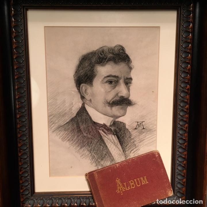 AUTORRETRATO Y CUADERNILLO DE DIBUJOS DE JOSÉ ARIJA SAIZ (BURGOS S XIX-MADRID 1920) (Arte - Dibujos - Modernos siglo XIX)