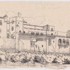 Arte: MUSEO DEL CAU FERRAT VISTA DESDE EL MAR – APUNTE DEL NATURAL. Lote 169771368