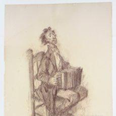 Arte: TEODORO DELGADO (1907 - 1975), DIBUJO, 1972, MÚSICO CON ACORDEÓN, FIRMADO Y DEDICADO. 51X36,5CM. Lote 169964132