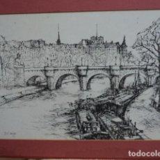 Arte: INTERESANTE DIBUJO A TINTA PLUMILLA PAISAJE DE CANALES JEAN CLAUDE DENIEL SIGLO XX AÑO 76 FRANCIA. Lote 170017388