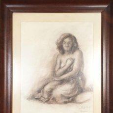 Arte: DESNUDO DE MUJER. DIBUJO AL PASTEL SOBRE PAPEL. FIRMADO COLLIS. 1946. . Lote 170059320