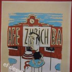 Arte: CAFE ZURICH BARCELONA. DIBUJO TÉCNICA GOUACHE FIRMADO C. PORTA 88. 32 X 24 CTMS. Lote 170107776