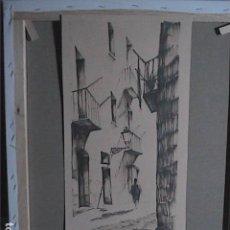 Arte: DIBUJO A ROTULADOR DE JOAN ESPAT. 1964. CARRER DE L'ALLADA. BARRIO GÓTICO DE BARCELONA.. Lote 170124832
