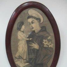 Arte: ANTIGUO DIBUJO SAN ANTONIO DE PADUA - CON MARCO DE MADERA, OVALADO - FINALES S. XIX. Lote 170338628